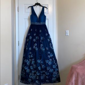 Blue Flowery Formal Dress